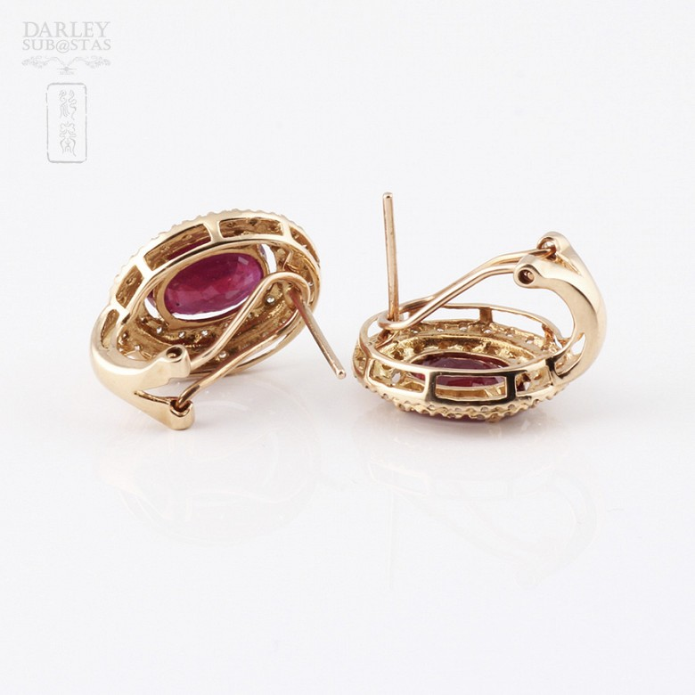 Earrings  5.11 cts ruby and diamond in 18k rose Gold - 1