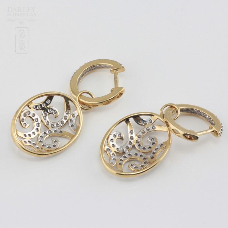 Preciosos pendientes con 1.01cts de diamantes - 3