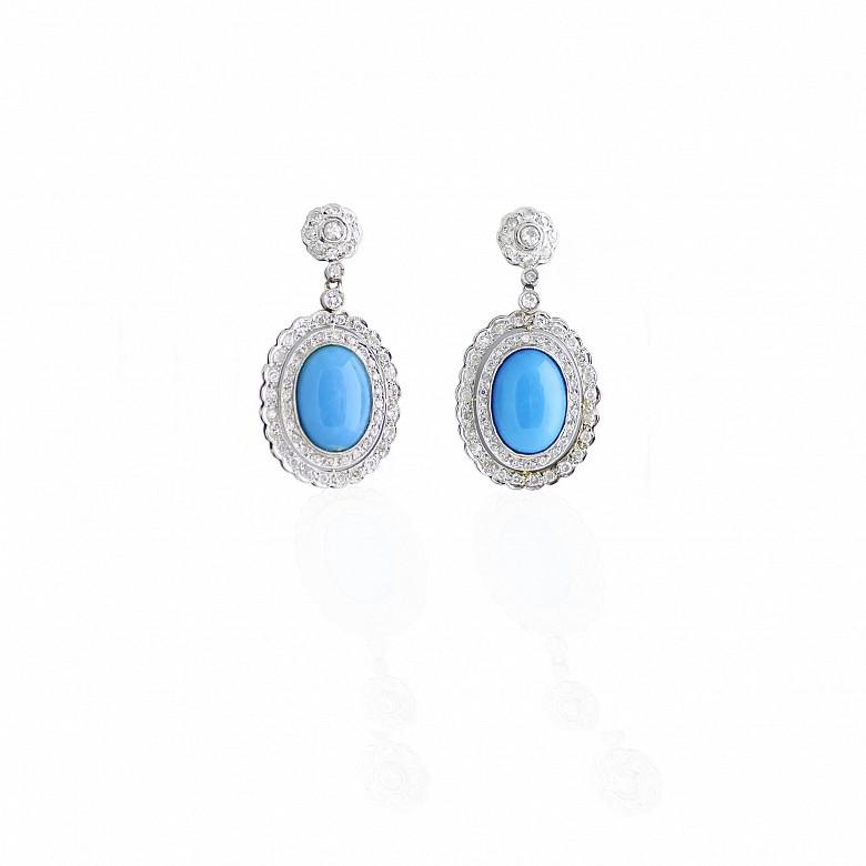 Pendientes de platino con diamantes y turquesas
