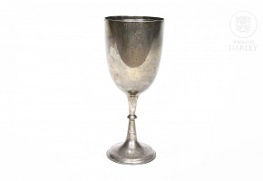 English silver punched cup, 925 sterling.