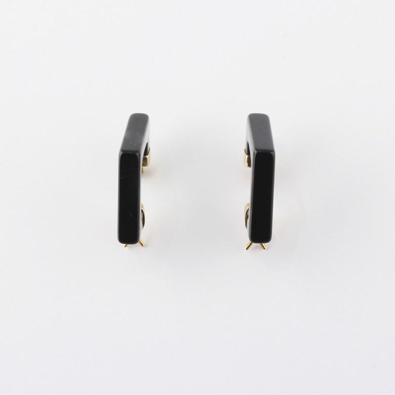 天然黑玛瑙配18K黄金耳环 - 3