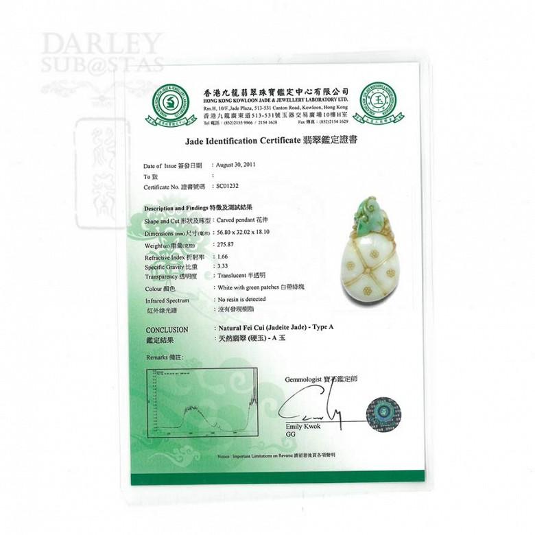 pendant school Jadeite Ching Dynasty (Fei Cui) 100% natural, - 4