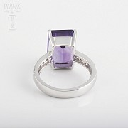 Ring with amethyst 6.93cts and diamonds in white gold - 3