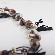 Collar largo con perlas y flecos en plata de ley, 925 - 2