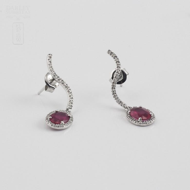 2.18克拉天然红宝石配钻石18K白金耳环 - 1