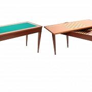 Mesa de juego de madera chapeada, estilo Luis XV, s.XX