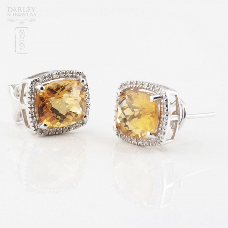 Beautiful earrings in 18k white gold with diamonds and citrine - 4