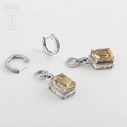Long earrings with citrine 6.34cts and diamonds in White Gold - 2
