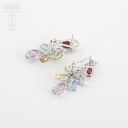 Fantásticos pendientes en oro blanco 18k con gemas semipreciosas y diamantes - 1
