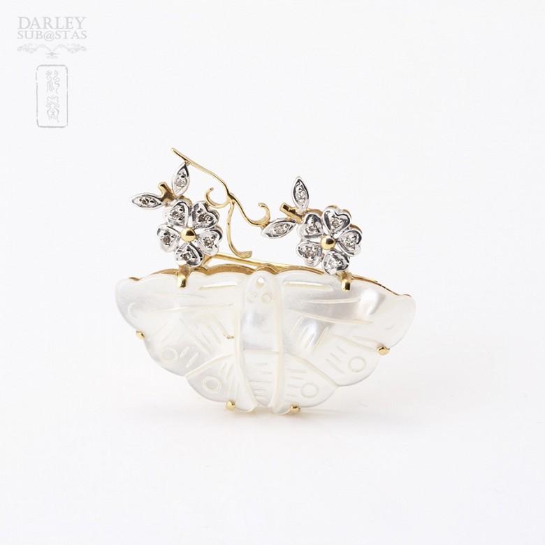 18K黄金珍珠贝壳镶钻石胸针