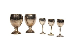 Pair of chalices y three liqueur cups. Marks: Switzerland and 900.