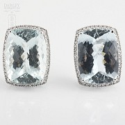 earrings with aquamarine 36.29cts and diamond in white gold