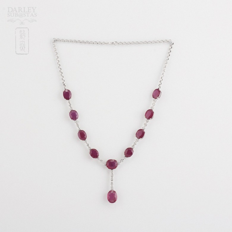 Necklace in 18k White Gold  38 cts of rubies and diamonds - 1