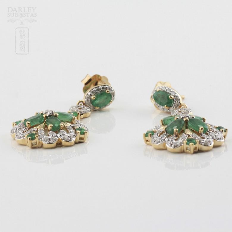 18K黄金镶钻石配祖母绿耳环 - 1