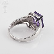 Ring with 3.30cts Amethyst and diamonds in White Gold - 2