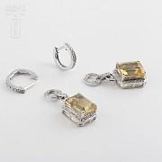 6.34克拉天然黄晶配钻石18K白金耳环 - 2