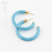 Earrings Turquoise in yellow gold - 4