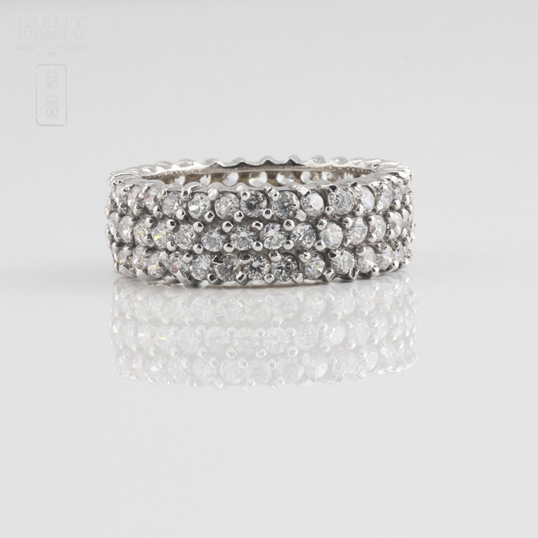 Nice ring in silver rhodium and zirconia - 2