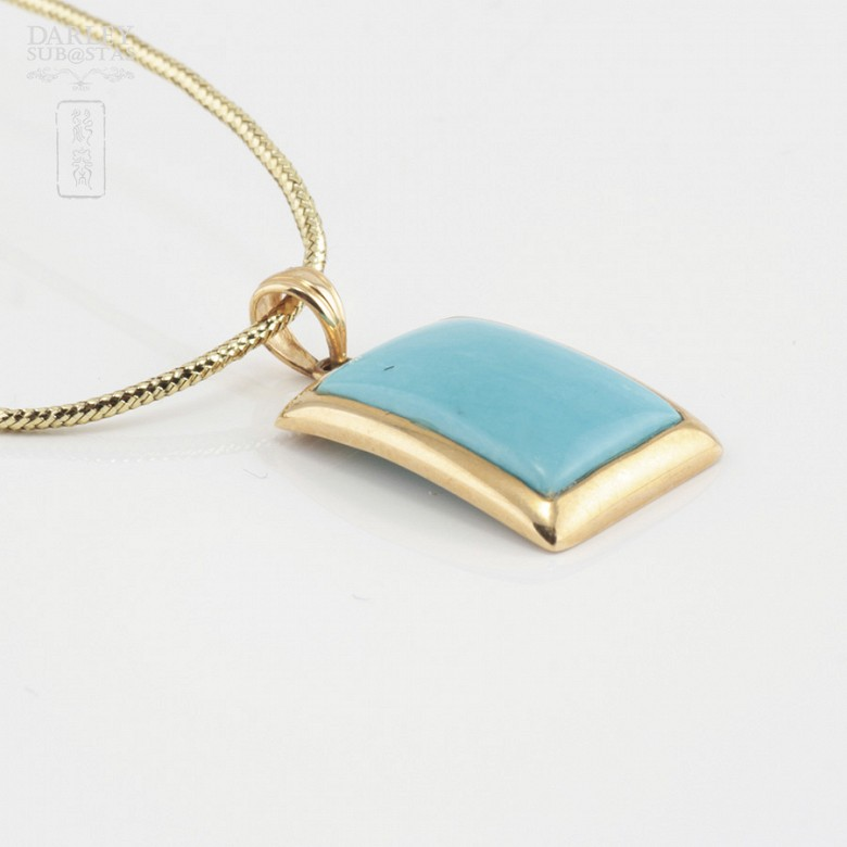 Pendant in 18k yellow gold and natural turquoise - 2