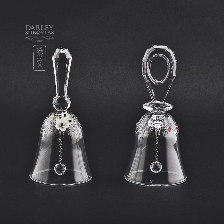 Set of two figures in Swarovski crystal, two bells