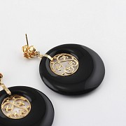 earrings  natural onyx  in 18k yellow gold - 1