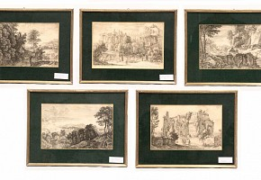 Five engravings on frame representing roman ruins and landscapes
