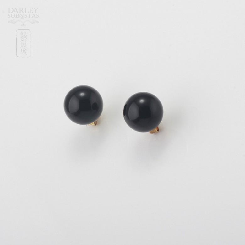 天然玛瑙18K黄金耳环