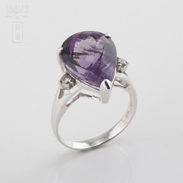 18k白金镶钻石配 深色紫晶戒指 - 5