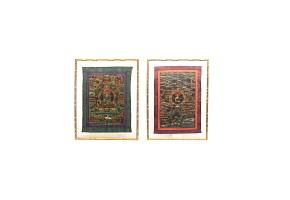 Pareja de Thangka, Tibet