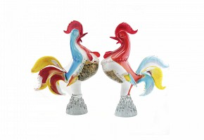 Pair of Murano glass roosters