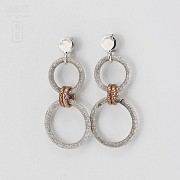 Earrings in sterling silver bicolor, 925 m / m