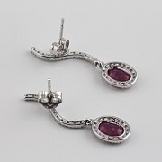 2.18克拉天然红宝石配钻石18K白金耳环 - 2