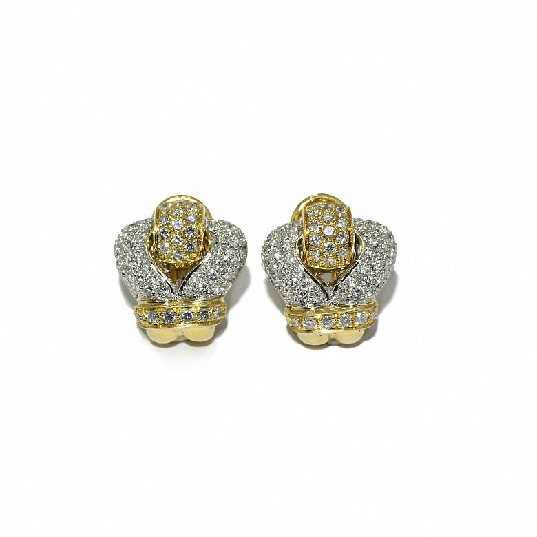 Pendientes de oro bicolor de 18k con diamantes