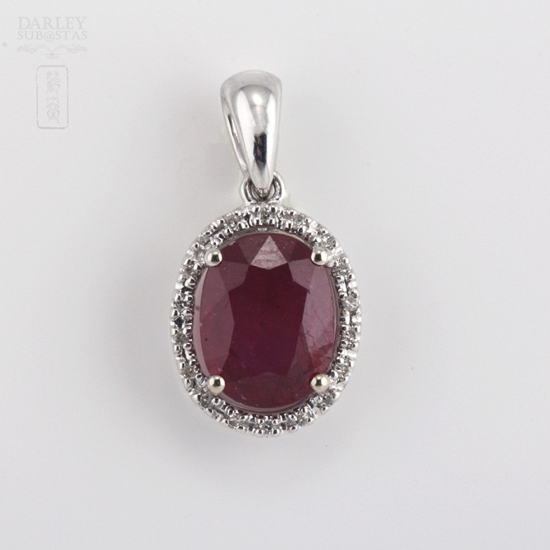Pendant with ruby 2,36cts and diamond  in white gold - 3