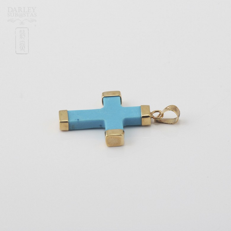 Pendant with Natural Turquoise in  Yellow Gold - 3