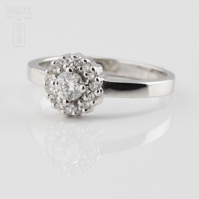 Rose 18k white gold and diamond ring 0.37cts - 2
