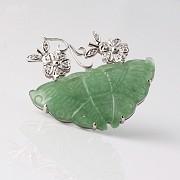 蝶型玉配钻石18K白金胸针 - 3