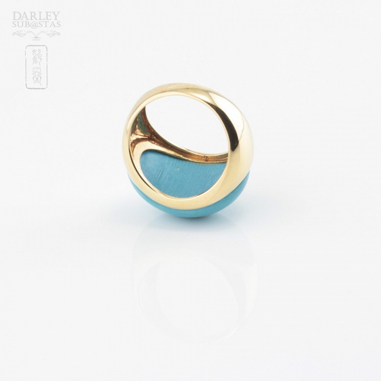 18k yellow gold and natural turquoise ring - 4