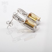 Excellent citrine earrings with diamonds - 2