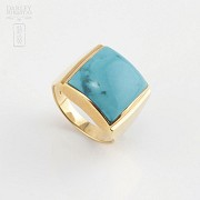 18k yellow gold and natural turquoise ring