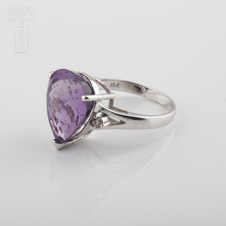 Fantastic ring with Amethyst and Diamond - 3