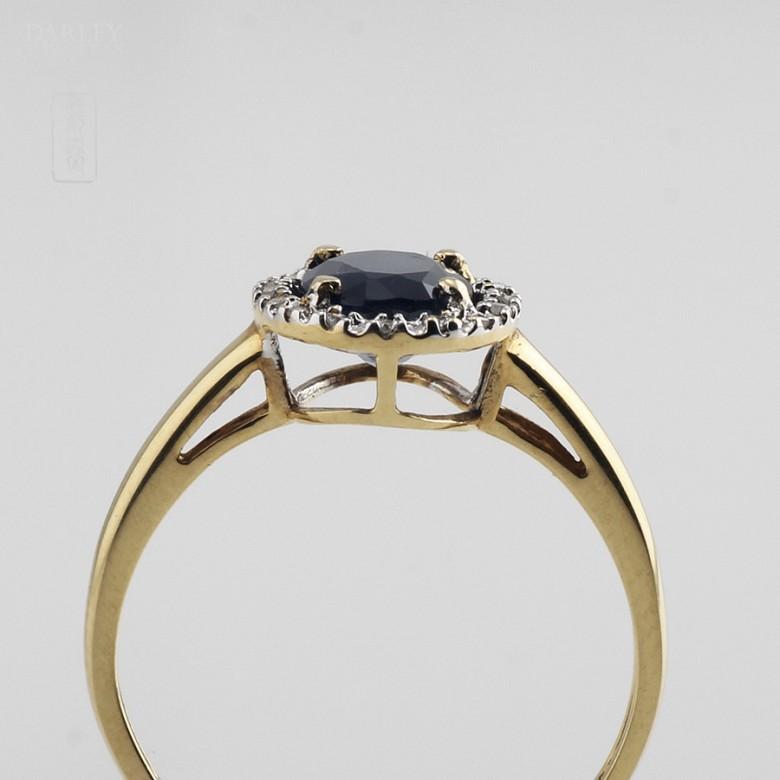 1.61克拉天然蓝宝石配钻石18K黄金戒指 - 4