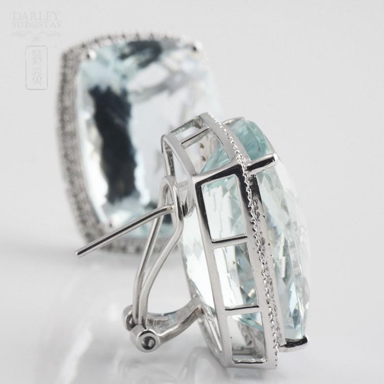 36.29克拉海蓝宝石配钻石18K白金耳环 - 3
