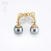 Preciosos pendientes oro bicolor y perla Tahití - 1