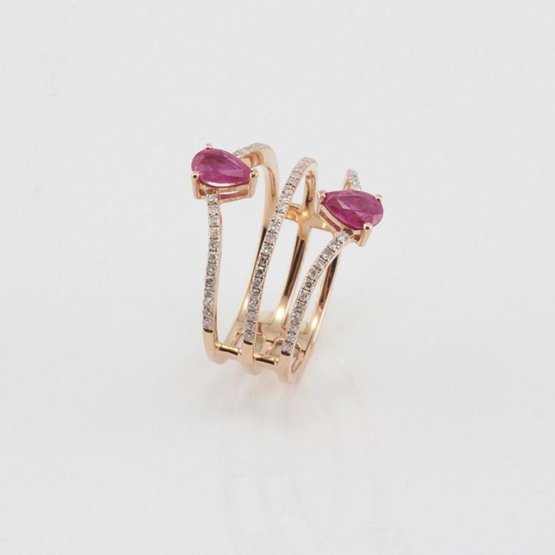 Precioso anillo oro rosa 18k, rubí y diamantes - 3
