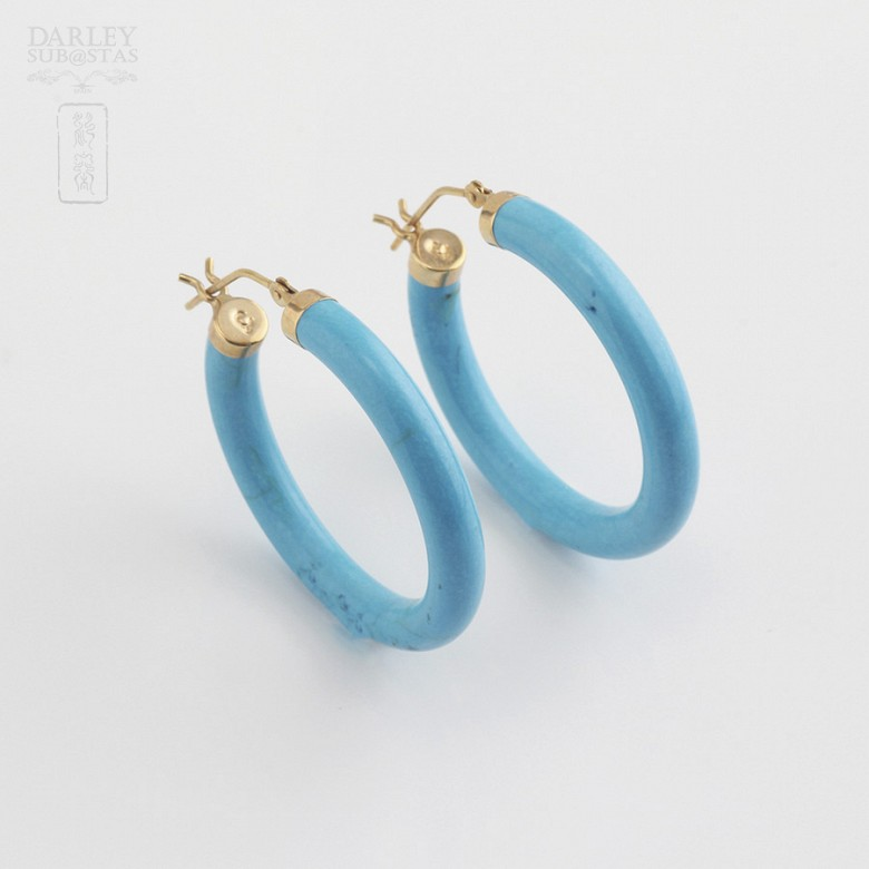18k黄金松石圆耳环 - 1