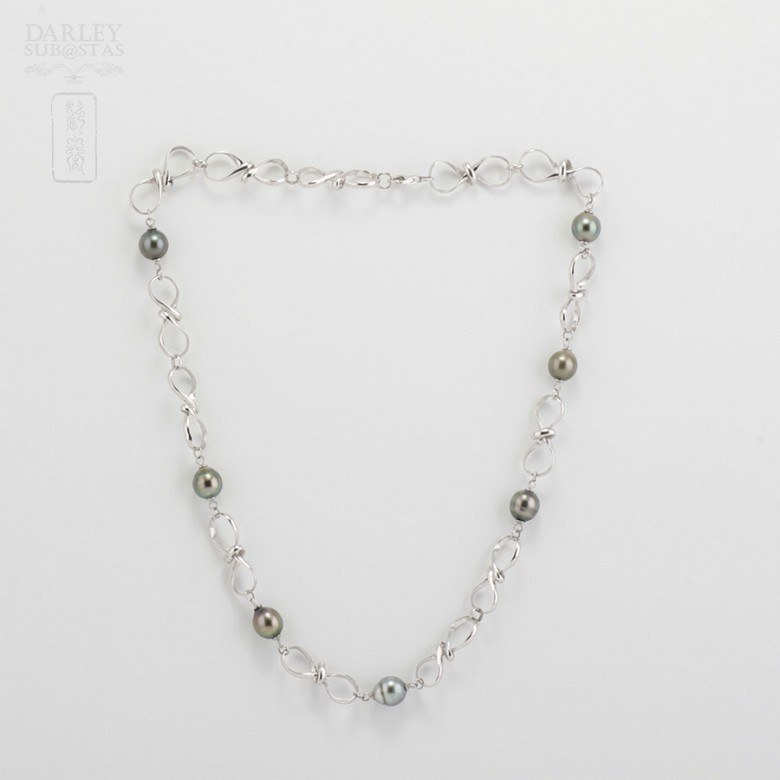 Natural Necklace Tahitian pearls in sterling silver, 925 - 3