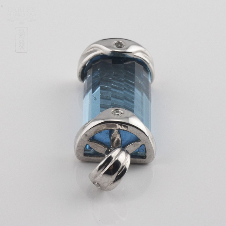 8.20克拉天然蓝晶配钻石18K白金挂坠 - 3