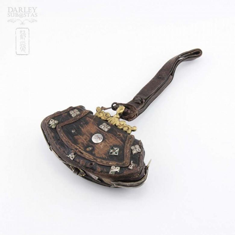 十九世紀 西藏银镶松石小皮挎包 - 3