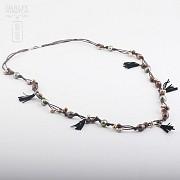 Collar largo con perlas y flecos en plata de ley, 925 - 3